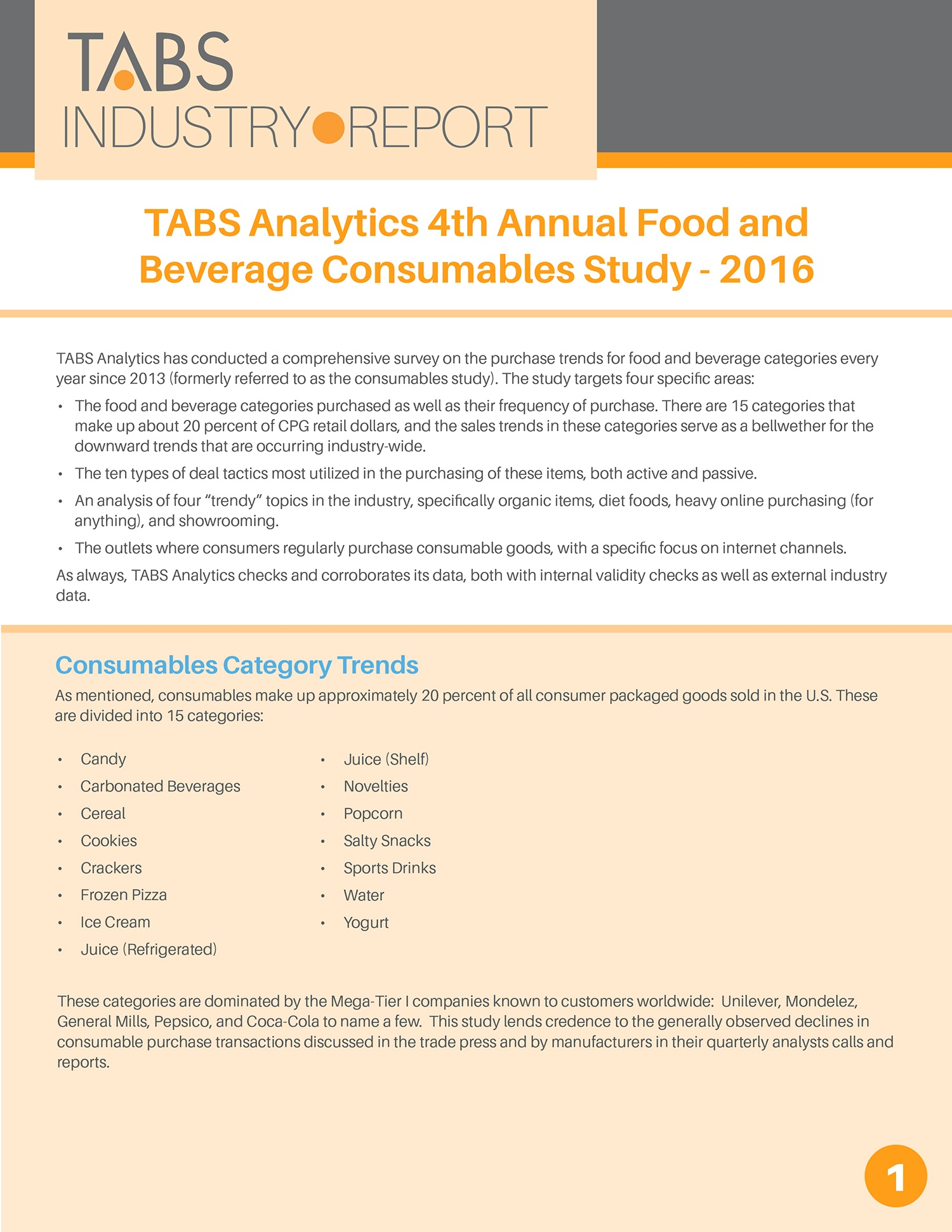 2016 4th Annual Food & Beverage Consumable Study