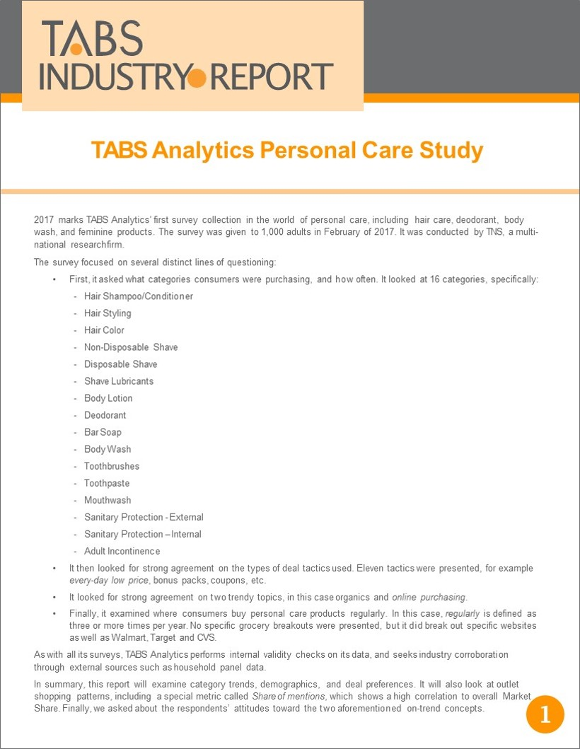 TABS 2017 Personal Care Study