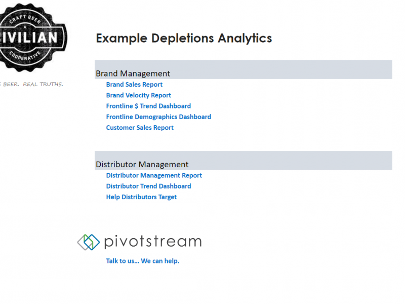 Depletions Analytics - Navigation